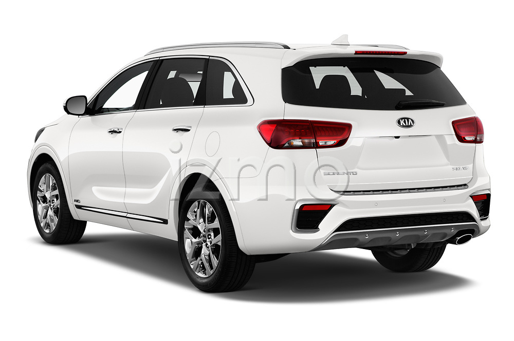 Car pictures of rear three quarter view of a 2019 KIA Sorento SX Limited 5 Door SUV angular rear