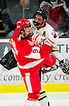 9 January 2011: University of Vermont Catamount defenseman Kyle Medvec, a Senior from Burnsville, MN, collides with forward Alex Chiasson, a Sophomore from St. Augustin, Quebec, during action against the Boston University Terriers at Gutterson Fieldhouse in Burlington, Vermont. The Catamounts fell to the Terriers 4-2 in Hockey East play. Mandatory Credit: Ed Wolfstein Photo