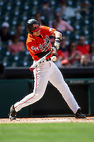 Sam Houston State Bearkats shortstop Jake McWilliam #10 swings the bat during the NCAA baseball game against the Texas Tech Red Raiders on March 1, 2014 during the Houston College Classic at Minute Maid Park in Houston, Texas. The Bearkats defeated the Red Raiders 10-6. (Andrew Woolley/Four Seam Images)