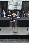 Garden City, New York, USA. May 31, 2017.  LAURA CURRAN, candidate for Nassau County Executive, speaks at Nassau County Democratic Nominating Convention at atrium of Cradle of Aviation Museum.