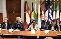 Roma, 23 Settembre 2013<br /> Palazzo Chigi<br /> Incontro Europeo contro le discriminazioni e il razzismo.<br /> 17 Paesi europei firmano la dichiarazione di Roma per la lotta al razzismo.<br /> La Ministra per l'integrazione Cécile Kyenge e a sinistra il ministro dell'Interno greco, Ioannis Michelakis.