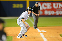 Jacksonville Suns outfielder Daniel Pertusati #2 leads off third during a game against the Pensacola Blue Wahoos on April 15, 2013 at Pensacola Bayfront Stadium in Pensacola, Florida.  Jacksonville defeated Pensacola 1-0 in 11 innings.  (Mike Janes/Four Seam Images)