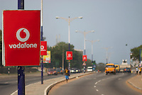 Vodafone signage on High Street, the approach to independence square.