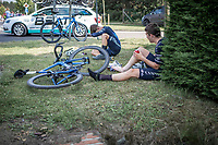 team Canyon DHB riders post race exhausted. <br /> <br /> Heistse Pijl 2019<br /> One Day Race: Turnhout > Heist-op-den-Berg 194km (UCI 1.1)<br /> ©kramon