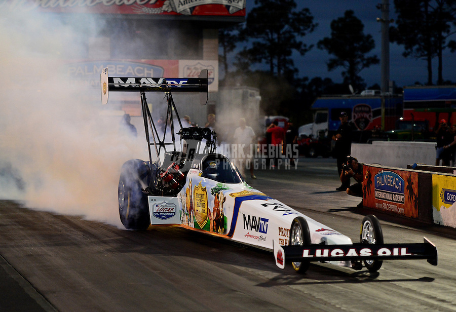Jan. 17, 2013; Jupiter, FL, USA: NHRA top fuel dragster driver Brandon Bernstein during testing at the PRO Winter Warmup at Palm Beach International Raceway.  Mandatory Credit: Mark J. Rebilas-