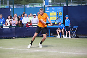 June 15th 2017, Nottingham, England; ATP Aegon Nottingham Open Tennis Tournament day 6;  Backhand from Brydan Klein of Great Britain who lost in two sets to Sam Groth of Australia