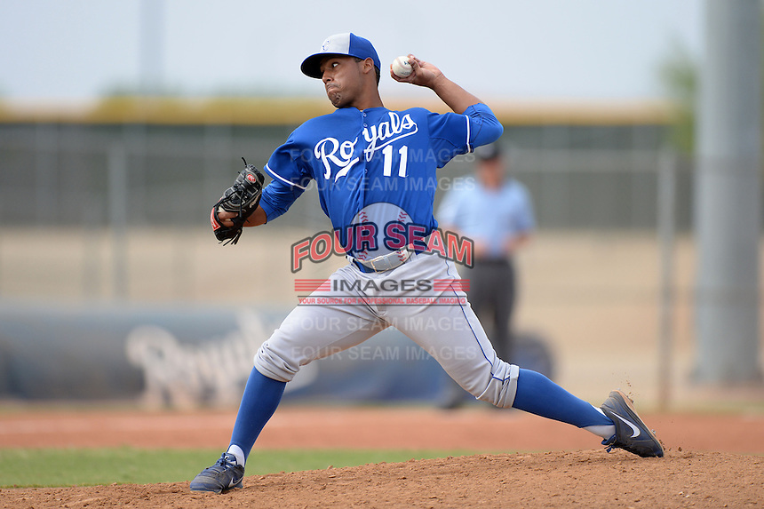 Kansas City Royals pitcher Javier Reynoso (11) during an Instructional League game against the Cleveland Indians on October 9, 2013 at Surprise Stadium Training Complex in Surprise, Arizona.  (Mike Janes/Four Seam Images)