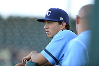 Charlotte Stone Crabs pitcher Jacob Faria (36) in the dugout during a game against the Bradenton Marauders on April 22, 2015 at McKechnie Field in Bradenton, Florida.  Bradenton defeated Charlotte 7-6.  (Mike Janes/Four Seam Images)
