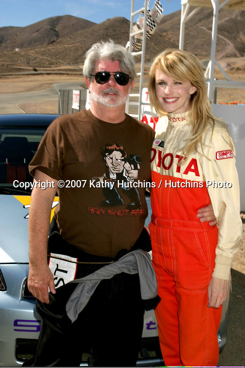 George Lucas & Kathryn Morris.2007 Toyota Pro/Celebrity Race Training.Danny McKeever's Fast Lane Racing School.Willow Springs Race Track.Willow Springs, CA  .March 17, 2007.©2007 Kathy Hutchins / Hutchins Photo....