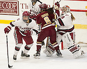 Briana Mastel (Harvard - 17), Dana Trivigno (BC - 8), Emerance Maschmeyer (Harvard - 38) - The visiting Boston College Eagles defeated the Harvard University Crimson 2-0 on Tuesday, January 19, 2016, at Bright-Landry Hockey Center in Boston, Massachusetts.