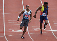 Yohan Blake (Jamaica) wins the men's 100m final during the IAAF Diamond League Athletics Müller Grand Prix Birmingham at Alexander Stadium, Walsall Road, Birmingham on 18 August 2019. Photo by Alan  Stanford.