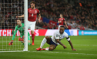 England's Raheem Sterling after scoring his side's first goal<br /> <br /> Photographer Rob Newell/CameraSport<br /> <br /> UEFA Euro 2020 Qualifying round - Group A - England v Czech Republic - Friday 22nd March 2019 - Wembley Stadium - London<br /> <br /> World Copyright © 2019 CameraSport. All rights reserved. 43 Linden Ave. Countesthorpe. Leicester. England. LE8 5PG - Tel: +44 (0) 116 277 4147 - admin@camerasport.com - www.camerasport.com