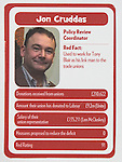 "© Joel Goodman - 07973 332324 . No syndication permitted . 29/09/2013 . Manchester , UK . Jon Cruddas . "" Top Trumped by the Unions "" cards handed out at the Conservative Party Conference . The Conservative Party Conference at Manchester Central . Photo credit : Joel Goodman"