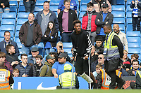 Callum Hudson-Odoi of Chelsea on the pitch at the end of the match on his crutches during Chelsea vs Watford, Premier League Football at Stamford Bridge on 5th May 2019