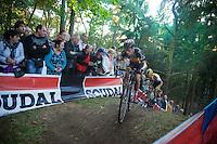 Sven Nys (BEL/Crelan-AAdrinks) ahead of Tom Meeusen (BEL/Telenet-Fidea)<br /> <br /> GP Neerpelt 2014