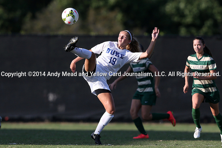 31 August 2014: Duke's Schuyler DeBree. The Duke University Blue Devils hosted the University of Alabama Birmingham Blazers at Koskinen Stadium in Durham, North Carolina in a 2014 NCAA Division I Women's Soccer match. Duke won the game 3-1.