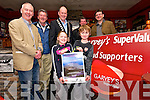 Fionnan Ó hÓgain (Údaras na Ghaeltachta), Coml Bambury (Dingle Walking Festival), County Mayor Seamus Cosaí Fitzgerald, Jerry O'Sullivan (Dingle Brewery) and Jim Garvey (Garvey's Supervalu) with, front, Beth and Kieran Bambury launching the Dingle Walking Festival at Danno's, Dingle, on Sunday evening.