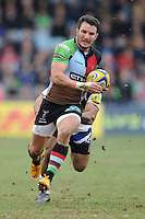 George Lowe of Harlequins in action during the Aviva Premiership match between Harlequins and Bath Rugby at the Twickenham Stoop on Saturday 13th April 2013 (Photo by Rob Munro)