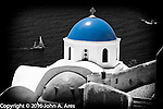 Blue Dome Church, looking down the cliffs toward boats on the Aegean