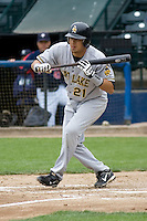 June 1, 2008: Salt Lake Bees' Freddy Sandoval checks the third baseman after showing bunt during a game against the Tacoma Rainiers at Cheney Stadium in Tacoma, Washington.