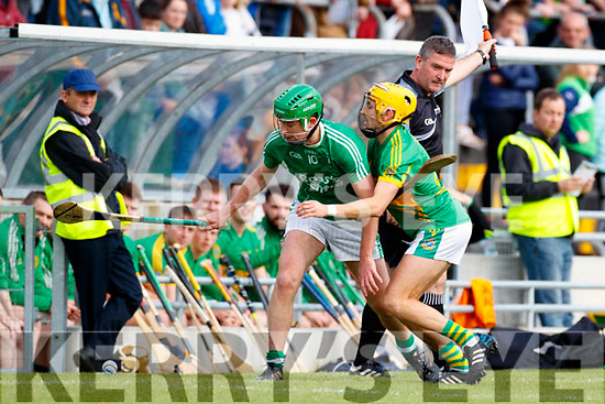 Paul O'Carroll Ballyduff in action against John Griffin Lixnaw in the Senior County Hurling Final in Austin Stack Park on Sunday