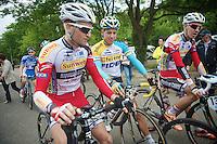 cyclocross riders at the start: Jim Aernouts (BEL/Sunweb-Napoleon Games), Tom Meeusen (BEL/Telenet-Fidea) & Dieter Vanthourenhout (BEL/Sunweb-Napoleon Games)<br /> <br /> Ster ZLM Tour<br /> stage 3: Buchten-Buchten (190km)