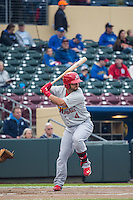 Ed Easley (4) of the Memphis Redbirds at bat against the Omaha Storm Chasers in Pacific Coast League action at Werner Park on April 24, 2015 in Papillion, Nebraska.  (Stephen Smith/Four Seam Images)