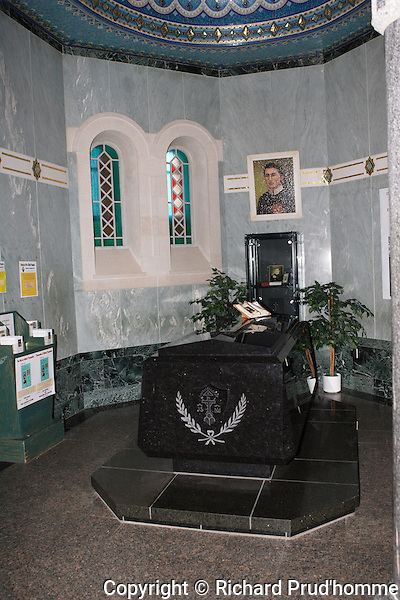 The tomb of Alfred Pampalon at the Sainte-Anne-de-Beaupre Basicila, Quebec Canada.