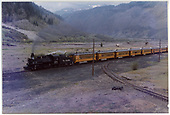 #476 arriving at Silverton with passenger train.  False diamond stack on engine.  Bumble Bee coaches - at wye.<br /> D&amp;RGW  Silverton, CO