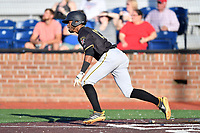 Bristol Pirates Yoyner Fajardo (18) runs to first base during game two of the Appalachian League, West Division Playoffs against the Johnson City Cardinals at TVA Credit Union Ballpark on August 31, 2019 in Johnson City, Tennessee. The Cardinals defeated the Pirates 7-4 to even the series at 1-1. (Tony Farlow/Four Seam Images)