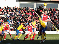 Fleetwood Town's Ched Evans meets a cross in the air <br /> <br /> Photographer Andrew Kearns/CameraSport<br /> <br /> The EFL Sky Bet League One - Fleetwood Town v Charlton Athletic - Saturday 2nd February 2019 - Highbury Stadium - Fleetwood<br /> <br /> World Copyright © 2019 CameraSport. All rights reserved. 43 Linden Ave. Countesthorpe. Leicester. England. LE8 5PG - Tel: +44 (0) 116 277 4147 - admin@camerasport.com - www.camerasport.com