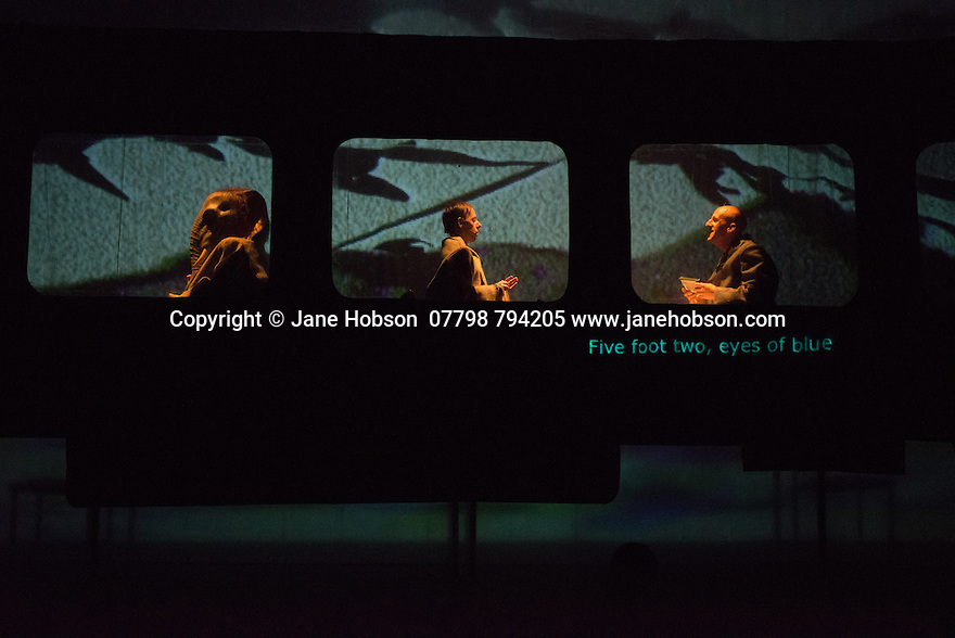 Edinburgh, UK. 09.08.2014.  GANESH VERSUS THE THIRD REICH, presented by Australian company, Back to Back Theatre, opens at the Royal Lyceum Theatre, as part of the Edinburgh International Festival. Picture shows:  Brian Tilley, Simon Laherty and David Woods. Photograph © Jane Hobson.