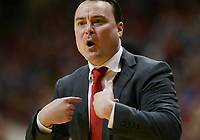 NWA Democrat-Gazette/CHARLIE KAIJO Indiana Hoosiers head coach Archie Miller reacts during the first half of the NCAA National Invitation Tournament, Saturday, March 23, 2019 at the Simon Skjodt Assembly Hall at the University of Indiana in Bloomington, Ind. The Arkansas Razorbacks fell to the Indiana Hoosiers 63-60.