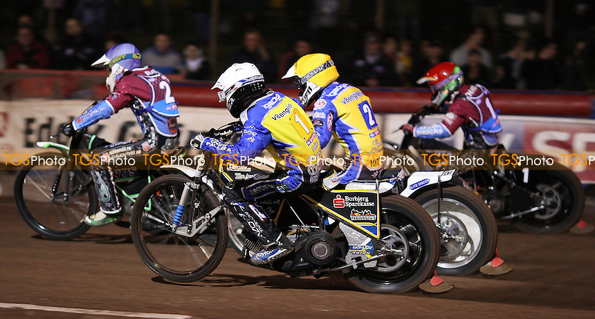 Heat 1: Peter Ljung (blue), Lee Richardson (red), Simon Gustafsson (yellow) and Bjarne Pedersen (white) - Lakeside Hammers vs Eastbourne Eagles, Elite League Speedway play-off semi-final at the Arena Essex Raceway, Purfleet - 19/09/11 - MANDATORY CREDIT: Rob Newell/TGSPHOTO - Self billing applies where appropriate - 0845 094 6026 - contact@tgsphoto.co.uk - NO UNPAID USE.