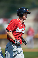 Great Lakes Loons shortstop Nick Dean (5) jogs to first during a game against the Clinton LumberKings on August 16, 2015 at Ashford University Field in Clinton, Iowa.  Great Lakes defeated Clinton 3-2 in ten innings.  (Mike Janes/Four Seam Images)