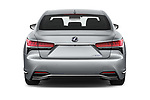 Straight rear view of a 2018 Lexus LS 500h 4 Door Sedan stock images