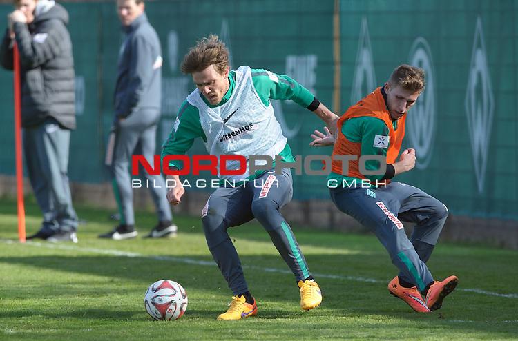 08.04.2015, Trainingsgelaende, Bremen, GER, 1.FBL, Training Werder Bremen, im Bild Clemens Fritz (Bremen #8), Levent Aycicek (Bremen #21)<br /> <br /> Foto &copy; nordphoto / Frisch
