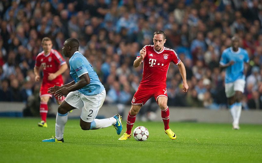 Bayern Munich's Franck Ribery turns Manchester City's Micah Richards<br /> <br /> Photo by Stephen White/CameraSport<br /> <br /> Football - UEFA Champions League Group D - Manchester City v Bayern Munich - Wednesday 2nd October 2013 -  Etihad Stadium - Manchester<br /> <br /> &copy; CameraSport - 43 Linden Ave. Countesthorpe. Leicester. England. LE8 5PG - Tel: +44 (0) 116 277 4147 - admin@camerasport.com - www.camerasport.com
