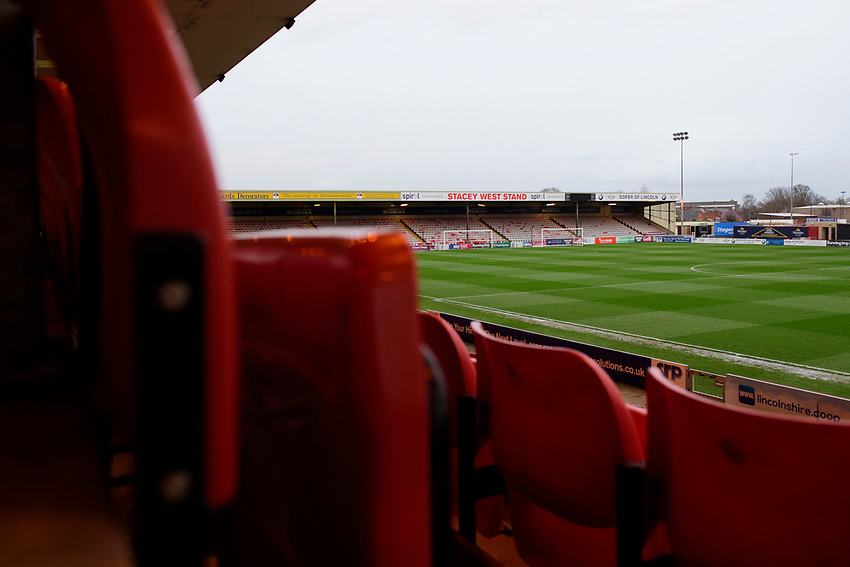 A general view of Sincil Bank, home of Lincoln City FC<br /> <br /> Photographer Chris Vaughan/CameraSport<br /> <br /> The EFL Sky Bet League Two - Lincoln City v Yeovil Town - Friday 8th March 2019 - Sincil Bank - Lincoln<br /> <br /> World Copyright © 2019 CameraSport. All rights reserved. 43 Linden Ave. Countesthorpe. Leicester. England. LE8 5PG - Tel: +44 (0) 116 277 4147 - admin@camerasport.com - www.camerasport.com
