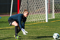 Sky Blue FC goalkeeper Ashley Baker (20) warms up prior to playing the Western New York Flash/ Sky Blue FC defeated the Western New York Flash 1-0 during a National Women's Soccer League (NWSL) match at Yurcak Field in Piscataway, NJ, on April 14, 2013.