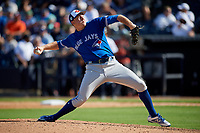 Toronto Blue Jays relief pitcher Zach Jackson (74) delivers a pitch during a Grapefruit League Spring Training game against the New York Yankees on February 25, 2019 at George M. Steinbrenner Field in Tampa, Florida.  Yankees defeated the Blue Jays 3-0.  (Mike Janes/Four Seam Images)