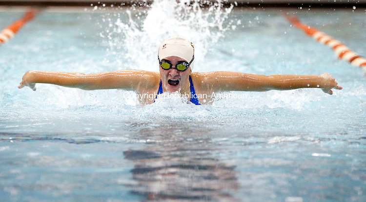 Watertown, CT- 29 September 2015-092915CM04- Sacred Heart's Jocelyn Medina competes in the 200 yard IM during a meet against Watertown on Tuesday.      Christopher Massa Republican-American