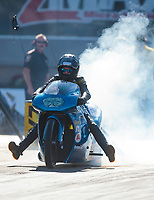 Oct 11, 2019; Concord, NC, USA; NHRA pro stock motorcycle rider Andie Rollins during qualifying for the Carolina Nationals at zMax Dragway. Mandatory Credit: Mark J. Rebilas-USA TODAY Sports