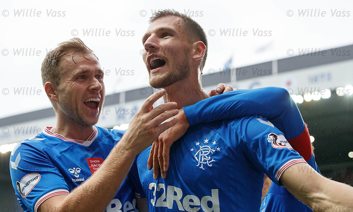 06.10.2019 Rangers v Hamilton: Borna Barisic celebrates his goal for Rangers