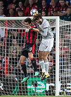 Charlie Daniels of AFC Bournemouth & Marouane Fellaini of Man Utd during the Premier League match between Bournemouth and Manchester United at the Goldsands Stadium, Bournemouth, England on 18 April 2018. Photo by Andy Rowland.
