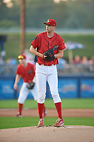 Williamsport Crosscutters starting pitcher Kyle Young (52) gets ready to deliver a pitch during a game against the Mahoning Valley Scrappers on August 28, 2018 at BB&T Ballpark in Williamsport, Pennsylvania.  Williamsport defeated Mahoning Valley 8-0.  (Mike Janes/Four Seam Images)