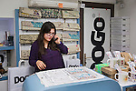 Istanbul - Turkey - 04 February 2015 -- Young entrepreneurs. -- Seyhan Dogru, 32, answers the phone at the Dogo shoe and bag store  -- PHOTO: Agata SKOWRONEK / EUP-IMAGES