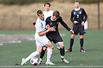 SALEM, VA - DECEMBER 3: Sterling Weatherbie (19) of Tufts University and Mitch Stark (11) of Calvin Collegecompete for the ball during theDivision III Men's Soccer Championship held at Kerr Stadium on December 3, 2016 in Salem, Virginia. Tufts defeated Calvin 1-0 for the national title. (Photo by Kelsey Grant/NCAA Photos)