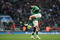 Joey Carbery of Ireland celebrates victory after the final whistle. Natwest 6 Nations match between England and Ireland on March 17, 2018 at Twickenham Stadium in London, England. Photo by: Patrick Khachfe / Onside Images