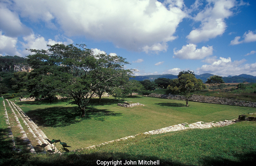 The Sunken Plaza or Plaza Hundida at the Mayan ruins of Chinkultic near Comitan, Chiapas, Mexico